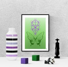modern butterfly, sacred geometry print, green  butterfly poster, zen wall art, digital download, printable home decor Green Butterfly, Frame It, Hanging Art, Sacred Geometry, Printable Wall Art, Art For Sale, Bees, Butterflies, Insects