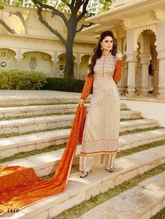 # Designer Staright Suits#Indian Wear#Beige & Orange Semi Georgette & Tussar Silk Designer Suit#Desi Fashion #Natasha Couture#Indian Ethnic Wear# Salwar Kameez#Indian Suit#Pakastani Suits# Palazoo