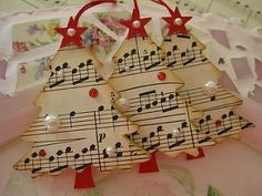 Vintage Music Paper Christmas Trees | by vsroses.com