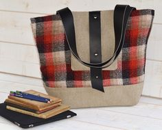 Amy Vintage Wool Tote bag / French Shoulder Bag by ikabags