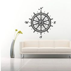 Wall Decals Mural Ship Wheel Nautical Compass Rose Navigate Ship Ocean Sea Living Room Bedroom Nursery Dorm Vinyl Sticker Wall Decor Murals Wall Decal: Amazon.co.uk: Kitchen & Home