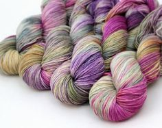 "Hand Dyed Sock Yarn MCN Merino Cashmere Nylon -Millie in ""Dried Petals"" knitting yarn., weaving, dollmaking, crochet"