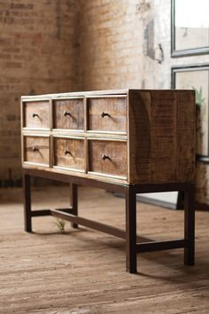 The Mango Wood Buffet With Iron Base And Six Drawers has the industrial chic design you love and lots of storage space, too. This cabinet is made of mango wood buffet with iron base that goes with any