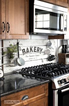 Shiplap styled BAKERY kitchen sign in a rustic kitchen, made with Funky Junk's Old Sign Stencils / funkyjunkinteriors.net