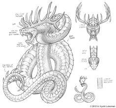 Uktena by kyoht horned serpent Mythological Creatures, Fantasy Creatures, Mythical Creatures, Snake Dragon, Types Of Dragons, Shetland, Myths & Monsters, Beast Creature, Geniale Tattoos