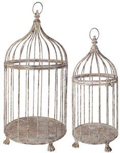 Vogelkäfig Antik-Weiss im 2er Set (Esschert Design AM04)