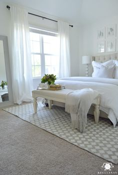White Guest Bedroom Retreat (NOTE: this is a rug under a queen bed) – 2019 - Curtains Diy Neutral Bedroom Decor, All White Bedroom, White Rooms, White Bedding, Trendy Bedroom, Bedroom Colors, Bedroom Ideas, White Bedroom Curtains, Bedding Sets