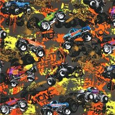 Cotton Fabric - Sport Fabric - Extreme Sports Monster Trucks Beast Blaster Wild One|4my3boyz Fabulous Fabrics by the Fat Quarter and More