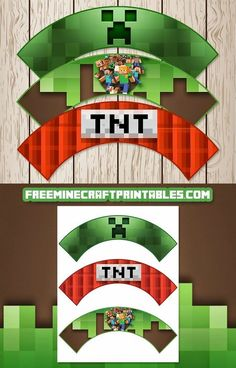 Free Minecraft Printables: Free Printable Minecraft Cupcake Wrappers - Minecraft, Pubg, Lol and Minecraft Cupcake Toppers, Cupcake Toppers Free, Cupcake Wrappers, Minecraft Party Favors, Minecraft Birthday Party, Minecraft Cake, Mine Minecraft, Minecraft Blocks, Mindcraft Party