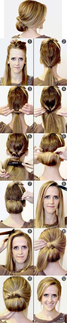 Repin: How to Make a Retro Bun She makes it very easy, i dont think i could make a bun like this.. She is a pro