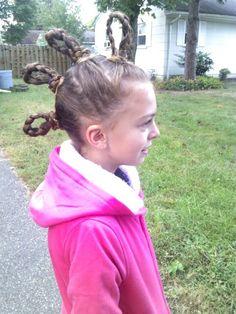 Crazy hair day....braided mohawk.