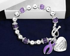 """""""Where there is love there is life"""" Bracelet - Purple Ribbon"""
