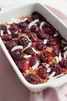 Baked coconut oatmeal with plums is perfect for a weekend brunch with friends…