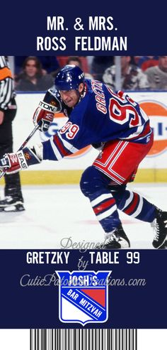 Designed by Me CutiePatootieCreations.com! for my sons Ice Hockey Theme New York Rangers Bar Mitzvah April 5th, 2014. Table Seating Cards using all time favorite New York Ranger Players.