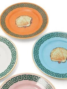 Richard Ginori X Luke Edward Hall set of 4 shell bread plates Edward Hall, Painted Shells, Friends In Love, Decoration, Designs To Draw, Sea Shells, Table Settings, Blue And White, Pottery