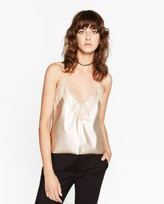ZARA - MUJER - TOP LENCERO - 17,95€ Lingerie, Casual Couture, Outfits 2016, Zara Women, Ready To Wear, Camisole Top, Style Inspiration, My Style, Bright Clothes