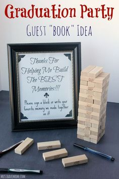 make a game out of it by writing on Jenga blocks. Or make a game out of it by writing on Jenga blocks. Outdoor Graduation Parties, Graduation Party Planning, College Graduation Parties, Graduation Party Decor, Grad Parties, Graduation Ideas, Grad Party Favors, Graduation Gifts, Unique Graduation Invitations