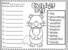 I hope you and your students enjoy these FREE Groundhog Day printables! They are perfect for morning work, stations, centers, independent practice, early finishers, homework, sub plans or 5-minute fillers. Includes: Groundhog Day What's That? Label the Pi