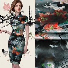 New spring luxury floral print spandex silk fabric for dress stretch silk tissue cloth tela tejido 19mm free shipping SP2175 #Affiliate
