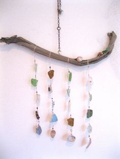 Sea glass and sea shell mobile by SandyFeetArtwork on Etsy, $24.95