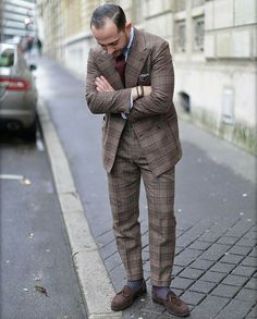 Checked suit with loafers