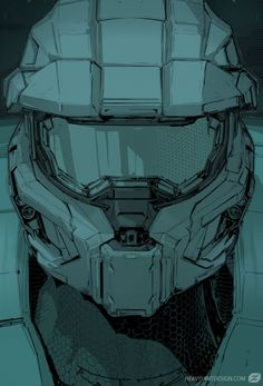 "Halo Sketch - fan art by Mike Hill ""Quick sketch of Halo armor to test illustration style"" Halo Reach, Mike Hill, Halo Master Chief, Master Chief And Cortana, Halo Armor, Halo Spartan, Halo Game, Halo 5, Halo Collection"