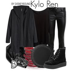 Kylo Ren by leslieakay on Polyvore featuring H&M, Roberto Cavalli, MANGO, Sif Jakobs Jewellery, Waterford, Calvin Klein, disney, disneybound, starwars and disneycharacter