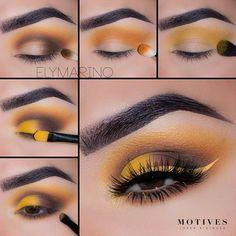 Motives® Pressed Eye Shadow - Heat Wave (Matte) - new_make_up_pintennium Yellow Makeup, Yellow Eyeshadow, Colorful Eye Makeup, Eyeshadow Makeup, Makeup Brushes, Makeup Goals, Makeup Inspo, Makeup Art, Makeup Inspiration