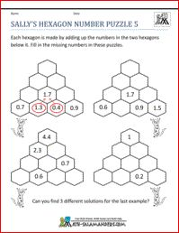 math worksheet : sally s hexagon number puzzle 2 a number puzzle worksheet for  : Decimal Puzzle Worksheets