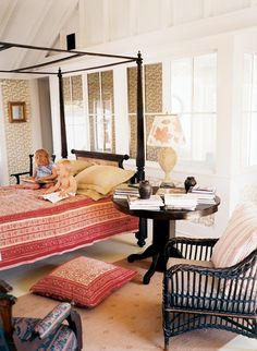 Indian cotton-print in British Colonial style bedroom; Donald Robertson