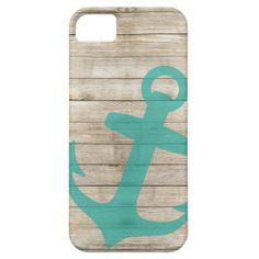 Girly Nautical Anchor and Wood Look iPhone 5 Cover