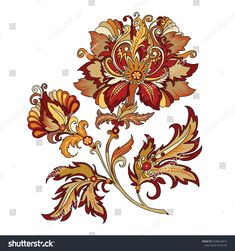Find Raster Version Illustration Clipart Decorative Abstract stock images in HD and millions of other royalty-free stock photos, illustrations and vectors in the Shutterstock collection. Folk Art Flowers, Botanical Flowers, Red Flowers, Flower Art, Easy Painting Projects, Paisley Art, Batik Art, Mandala, Planets Wallpaper