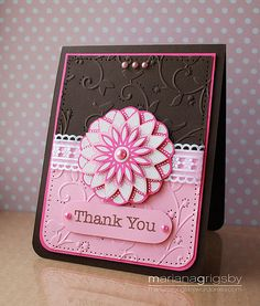 handmade card: Thank You by maropeusa, via Flickr ... luv the black & pink color combo .. clean design ... popped elements and layered flower medallion give it a lot of dimension ...