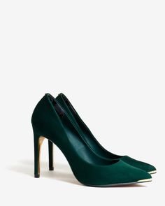 Ted Baker footwear collection, Patent leather or suede, Metallic detailing on the heel and toe, Signature gold Ted Baker branded sole