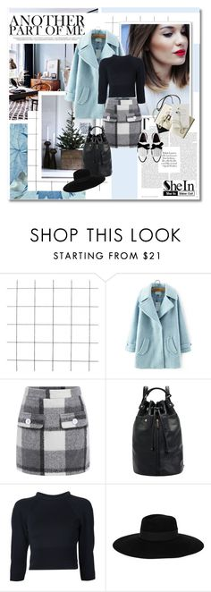 """Blue coat - Shein.com ND7"" by undici ❤ liked on Polyvore featuring Alexander McQueen, Maison Michel and Chanel"