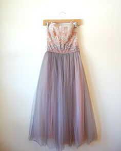 vintage 1950s prom dress / ombre sequin party dress / Just a Dream dress.