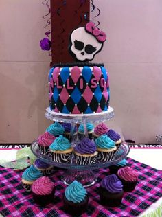 Monster High Birthday Cake & Cupcakes for Allison