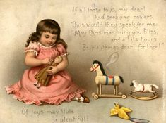 christmas of old | old Christmas card with child and toys, quite different from the toys ...
