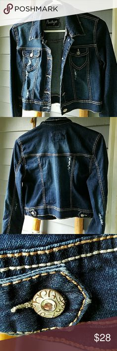 AMETHYST DISTRESSED STRETCH JEANS JACKET AWESOME DEEP BLUE INDIGO STRETCH DENIM AMETHYST JACKET DISTRESSED STYLE TO SIZE, ITS VERY SMALL ID SAY SMALL JUNIOR'S  IN VERY GOOD USED CONDITION  NO STAINS HOLES OR DAMAGE  SMOKE AND PET FREE HOME AMETHYST  Jackets & Coats Jean Jackets