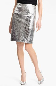 Milly Metallic Leather Skirt available at #Nordstrom