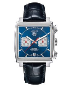 TAG Heuer Watch, Men's Swiss Automatic Chronograph Monaco Blue Croc Embossed Leather Strap 39mm CAW2110.FC6183 - TAG Heuer - Jewelry & Watches - Macy's
