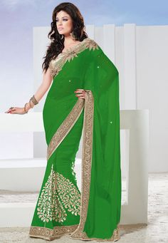 Buy Green Faux Chiffon Saree with Blouse online, work: Embroidered, color: Green, usage: Party, category: Sarees, fabric: Chiffon, price: $109.10, item code: SWS4691, gender: women, brand: Utsav