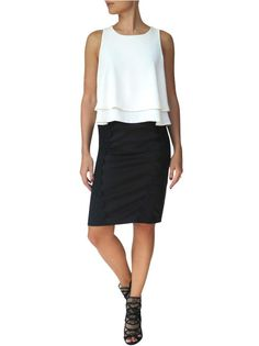 100% Italian leather. 95% Polyester, 5% Spandex. There's nothing like a sharp new pencil. Our skirt is made of a textured quality fabric with great stretch, so it's comfortable — and effortless. A great wardrobe anchor for work or weekend, it's precisely tailored for a flattering fit and the Italian leather panels and luxurious black lace at the front and back makes this pencil skirt stand out from the classic black pencil skirts. Stretchy quality fabric with decorative lace on both sides…