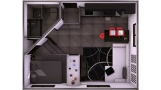 Sooo micro an apartment for singles Studio Type Apartment, Apartment Design, Small Space Living, Living Spaces, Tiny House, Apartment Floor Plans, Garage, Lofts, Small Apartments
