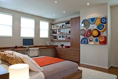 Elaborate workspace makes wonderful use of space [From: Jennifer Gustafson Interior Design]