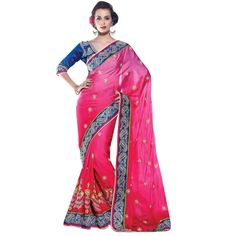 Pink Colored Embroidered Faux Georgette Party Wear Saree Triveni
