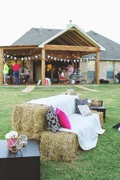 3 Ladies and Their Gent: Movie Night Under the Stars | 30th Birthday Celebration | Hay Couches for a back yard BBQ