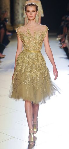 Elie Saab 2012/2013 - gorgeous gold tulle sparkly dress.
