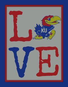 Rock Chalk Jayhawk Love KU This 8X10 Jayhawk LOVE by sportsstuff4u, $15.00
