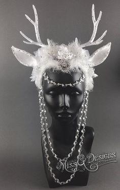 Ice Queen Antler Headdress by Miss G Designs headpiece snow queen crown